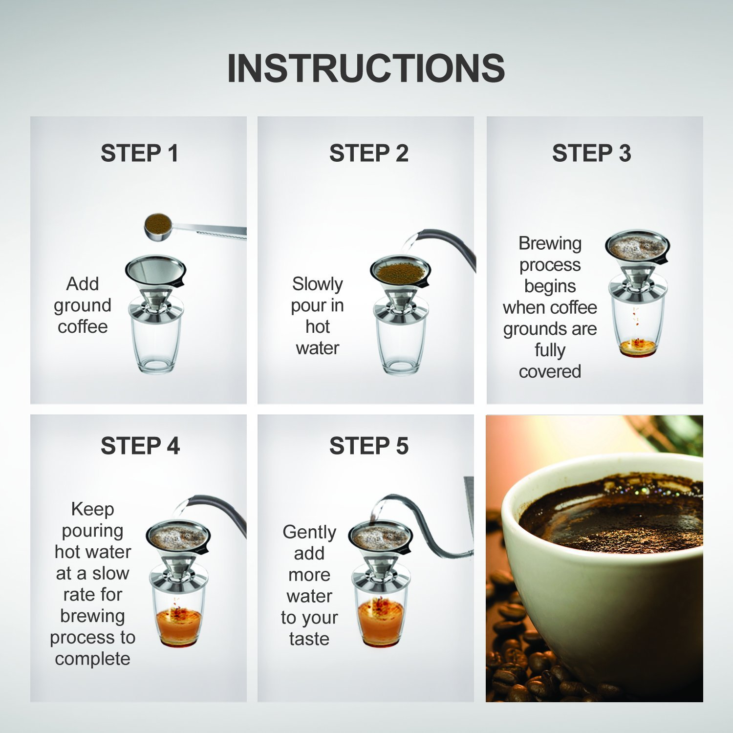 Stainless Steel Pour Over Coffee Dripper Bonus Coffee Scoop With